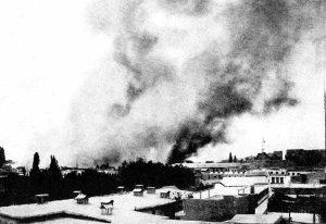 Damas en flammes à la suite du bombardement par les Français (octobre 1625)