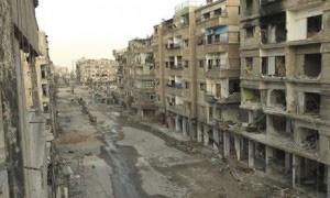 Bâtiments de Daraya détruits par des missiles