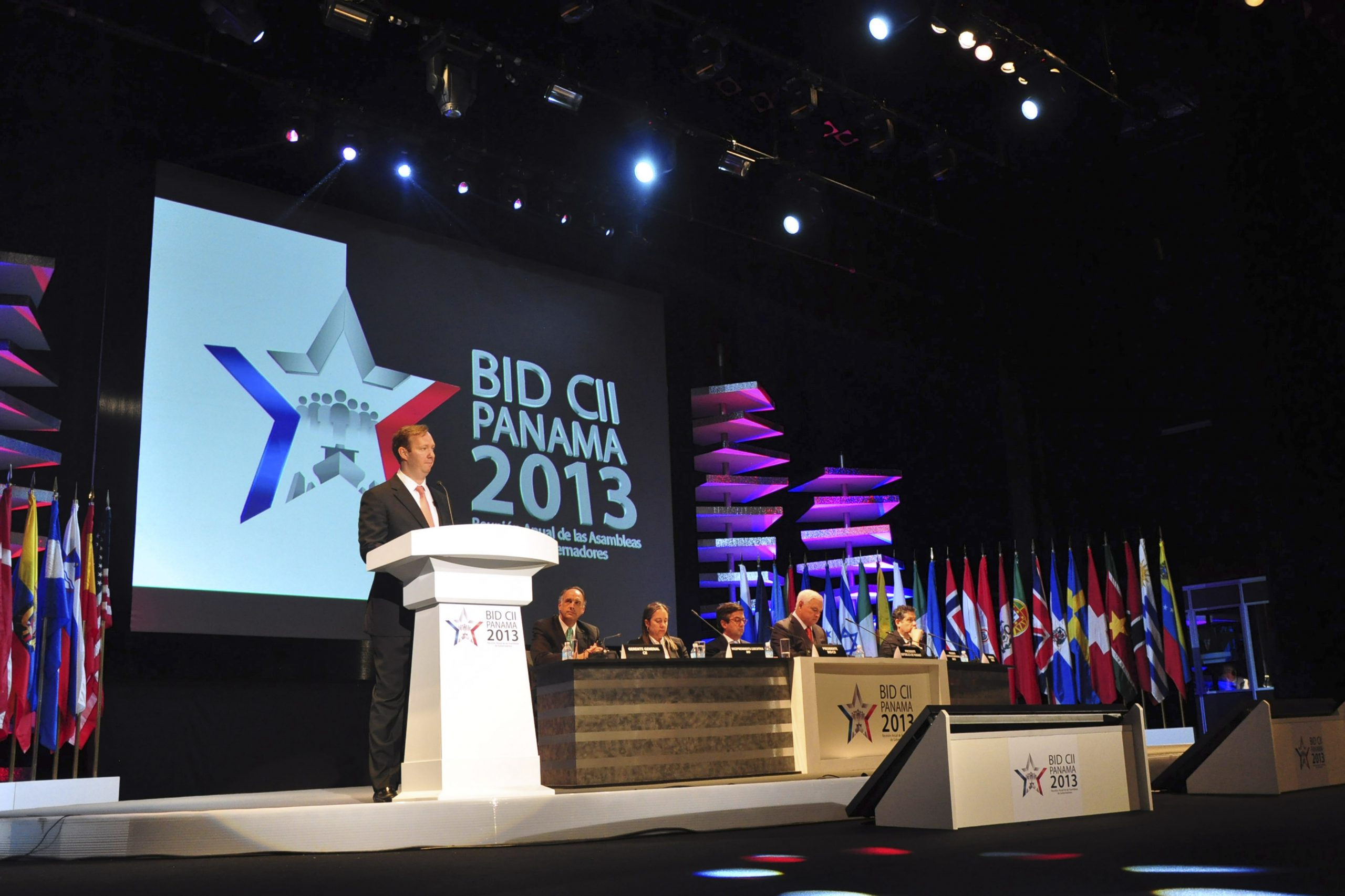Frank de Lima, Panama's Minister of Finance and Chairman of the Board of Governors of IDB, speaks during annual meeting of the Bank's Board of Governors in Panama