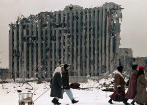 Grozny en 1995... Le palais présidentiel détruit par les Russes...