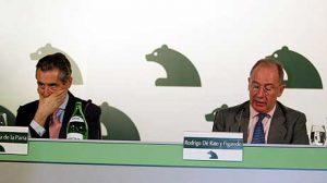 Miguel Blesa, président de Caja de Madrid;  à sa droite Miguel Rato (2009)