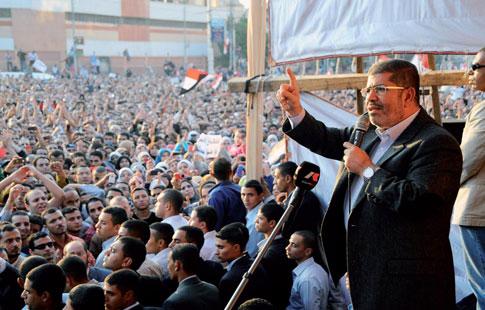 Le président Morsi s'adressant à ses supporters...