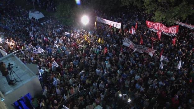Manifestation devant le bâtiment de l'ERT