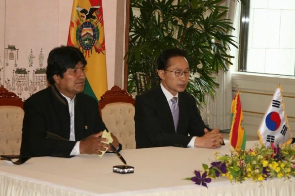 Evo Morales avec le président de Corée du Sud, de 2008 à 2013, Lee Myung-bak, un «chrétien presbytérien»
