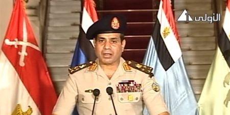 Le Lt. Général Abel Fattah al-Sissi, s'adressant «à la nation» le 3 juillet 2013
