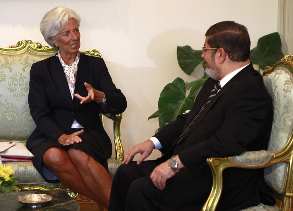 Christine Lagarde du FMI et Mohamed Morsi