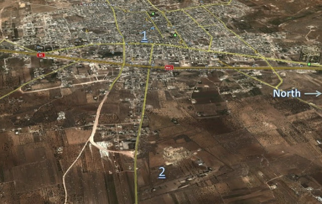 1:  Maarat al-Numan; 2: camp militaire de Wadi Deif