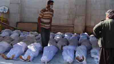 Morgue improvisée, le 21 août 2013, dans la banlieue de Damas