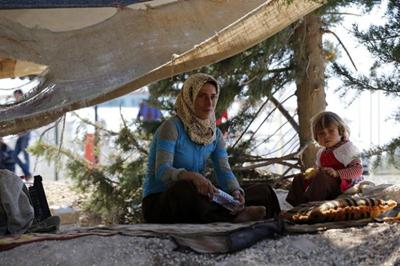 Réfugiés syriens près de la frontières turque (Umit Bektas)