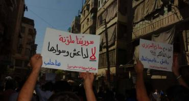 Pancarte: «Notre Syrie est multicolore. L'EIIL est sombre et noir»