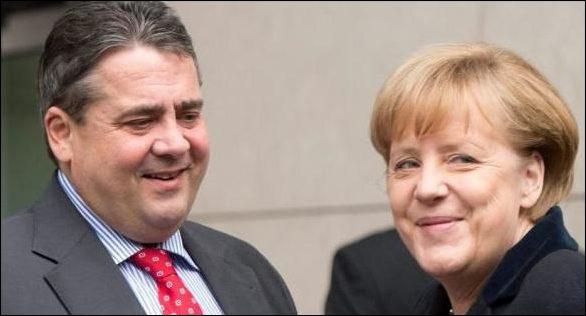 Sigmar Gabriel et Angela Merkel