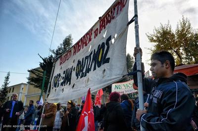Manifestation de soutien à Thanasis Kourkoulas avant le report de son procès