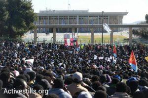 Demandeurs d'asile devant la Knesset le mercredi 8 janvier 2014
