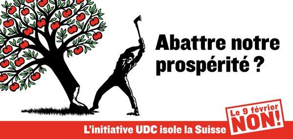 Blocher avec son Hodler et l'affiche officielle contre l'UDC...et la confusion....