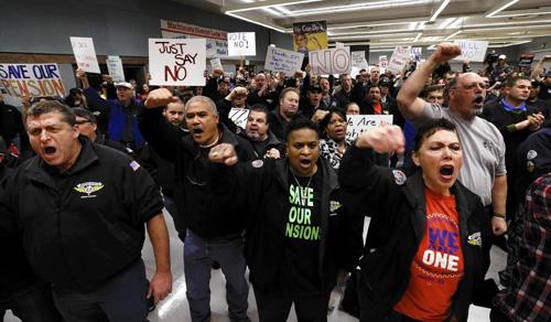 Travailleurs et travailleuses de Boeing se prononçant pour le NON le 2 janvier 2014