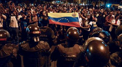 Manifestation de l'opposition étudiante, à Caracas,  le 16 février 2014