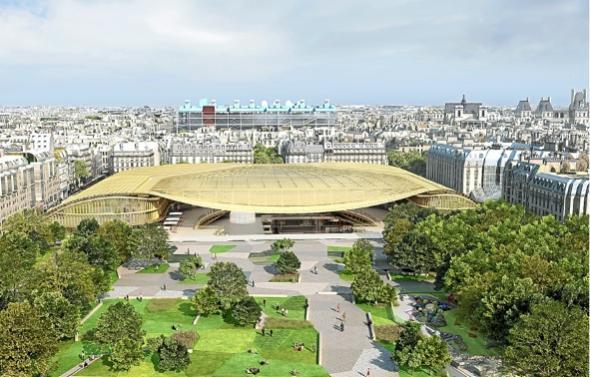 La Canopée, structure de verre et d'acier, devant couvrir le Forum des Halles (maquette 2012)
