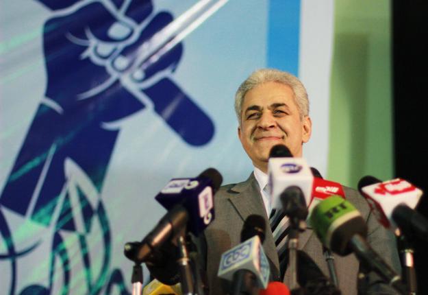 Hamdine Sabahi lors d'un meeting à Mahalla, le 5 mai 2014