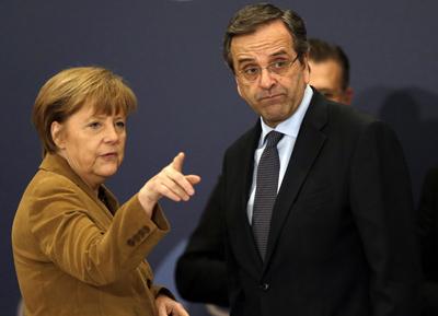 Angela Merkel et Antonis Samaras, le 11 avril 2014