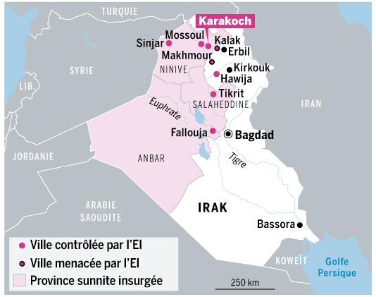 Carte de l'avancée des forces regroupées dans l'EI (Le Monde 12 août 2014)