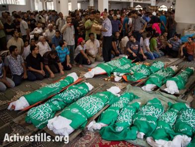 Quinze des vingt-quatre personnes tuées, suite à l'attaque  sur Bani Suhaila (quartier de Khan Younis - Gaza) sont  des enfants (21 juillet 2014)