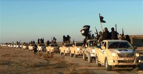 Image d'un site militant en janvier 2014 montrant un convoi de véhicules de l'EIIL dans la province  irakienne d'Anbar
