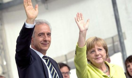 Stanislaw Tillich et Angela Merkel à Dresde