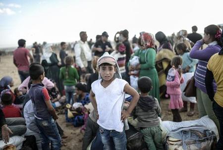 Le 20 septembre: réfugié·e·s kurdes à la frontière Syrie-Turquie
