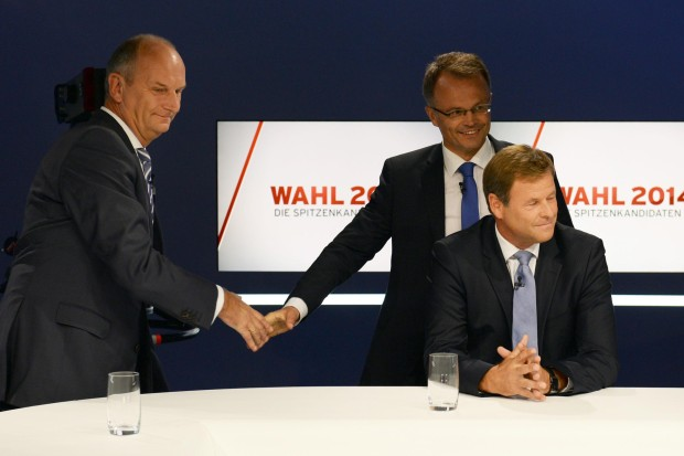 Dietmar Woidke (SPD), Michael Schierack (CDU) et Christian Görke (Die Linke), à la télévision