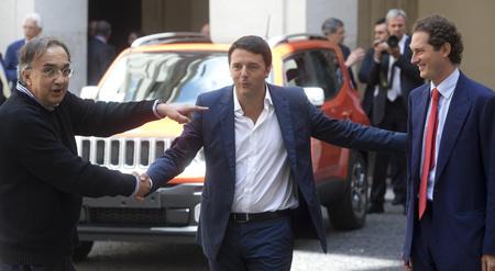Sergio Marchionne, Matteo Renzi et le président de la Fiat John Elkann