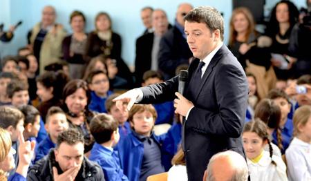 Matteo Renzi dans une école en Sicile (Syracuse)