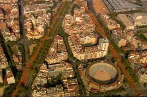 """Le """"V"""" formé par les différents secteurs d'une manifestation ayant réunit, selon la Guardia Urbana de Barcelona, 1,8 millions de personnes."""