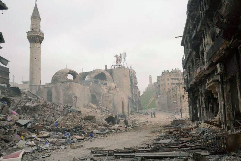 Cliché fourni le 3 octobre par l'UNESCO: le vieux Alep continue d'être bombardé par Assad....