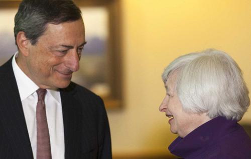 Mario Draghi de la BCE et Janet Yellen, la patronne de la Fed, le 22 août à Jackson Hole