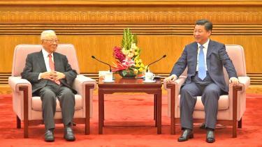 Xi Jinping (à droite) rencontre le président de la New Alliance Association, Hsu Li-nung à Pékin