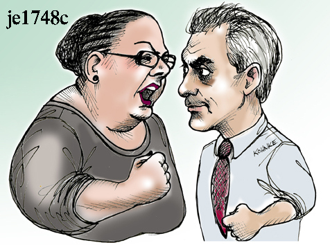 Karen Lewis et Rahm Emanuel, durant la grève de 2012