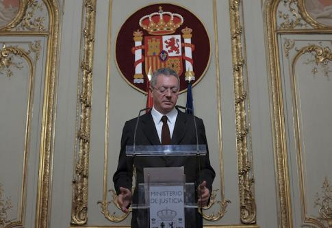 Le ministre de la justice Alberto Ruiz-Gallardon annonce sa démission le 23 septembre 2014