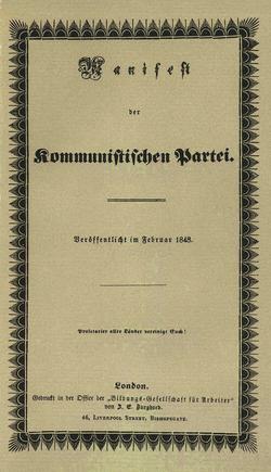 Manifeste communiste, paru anonymement en 1847