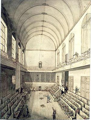 La salle du Manège des Tuileries où s'est réunie la Convention nationale jusqu'en 1793