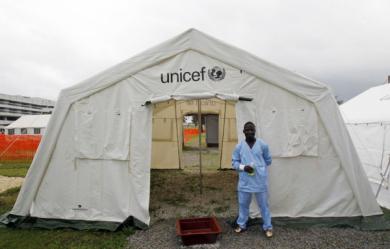Samedi 15 novembre, dans un centre de traitement contre Ebola, à Abidjan en Côte d'Ivoire