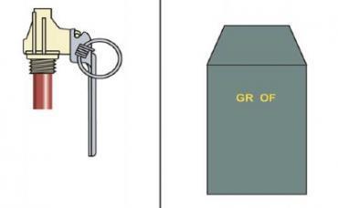 Schéma de la grenade OF F1 utilisée par les gendarmes mobiles.