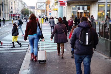19 novembre 2014: Genève, enfin on marche, tranquille. Grève des trams et des bus...