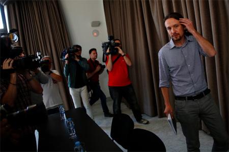Pablo Iglesias, le 30 mai 2014, après le succès des  élections européennes: 5 députés