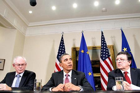 Herman Van Rompuy, Barack Obama, José Manuel Durão Barroso «négociant» le TAFTA