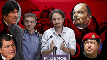 Jiuan Carlos Monedero et Pablos Iglesias, dirigeants du «nouveau parti», entourés par Evo Morales (Bolivie) , Lénine,  R. Coorea (Equateur), Hugo Chavez (décédé le 5 mars à Caracas),