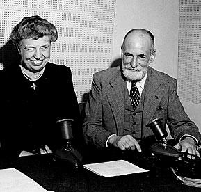 Eleanor Roosevelt et René Cassin,  les rédacteurs de la Déclaration  Universelle des Droits de l'homme  (décembre 1948)