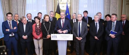 Charles Michel pilote le «Groupe des 10», le 15 janvier 2015,  dans «sa» résidence