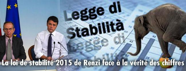 Italie. La Loi de Stabilité 2015 de Renzi face à la vérité des chiffres
