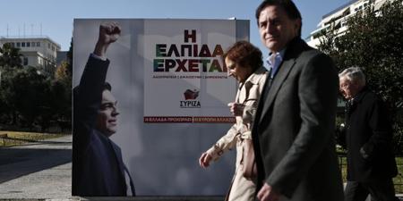 Affiche électoral de Syriza au centre d'Athènes: «L'espoir arrive»