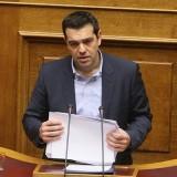Tsipras s'adressant  à la fraction de SYRIZA,  le mardi 17 février